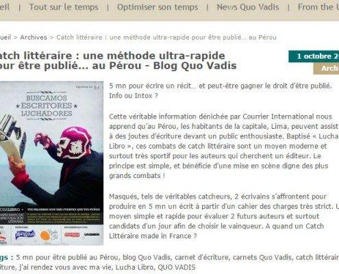 Blog Quo Vadis et le catch littéraire au Pérou
